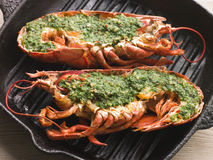 Lobster Half Grilled with Garlic Royalty Free Stock Photography