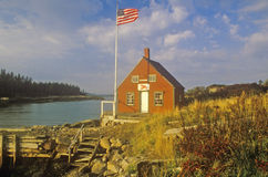 Lobster house on edge of Penobscot Bay in Stonington ME in Autumn Royalty Free Stock Photo