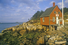 Lobster house on edge of Penobscot Bay in Stonington ME in Autumn Stock Photos