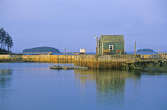 Lobster house on edge of Penobscot Bay in Stonington ME in Autumn Stock Photo