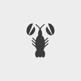 Lobster Icon in a flat design in black color. Vector illustration eps10 Royalty Free Stock Images