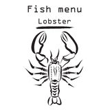 Lobster icon. Sea food menu label. Fish restraunt cover backgrou. Nd Stock Photo