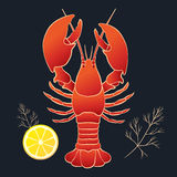 Lobster with lemon and dill Royalty Free Stock Image