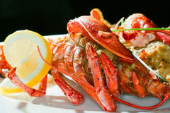 Lobster with lemon Royalty Free Stock Image