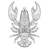 Lobster line art. Design for coloring book, logo, t shirt design, tattoo and so on Stock Images