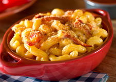 Lobster Mac and Cheese. A bowl of delicious home made lobster mac and cheese Royalty Free Stock Image