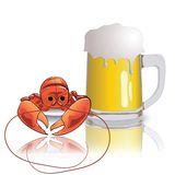 Lobster and mug of beer Royalty Free Stock Photo