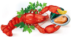 Lobster and mussel Royalty Free Stock Photo