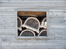 Lobster nets and window Royalty Free Stock Photography