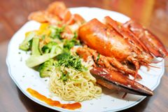 The lobster with noodle royalty free stock photo