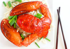 Lobster and noodles Royalty Free Stock Image