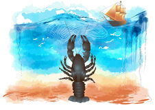 Lobster in ocean Royalty Free Stock Photography