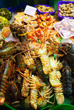 Lobster and other sea food on spanish market Royalty Free Stock Images