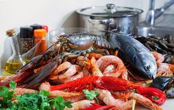 Lobster and other seafood Royalty Free Stock Photos