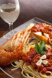 Lobster pasta with tomato sauce royalty free stock image