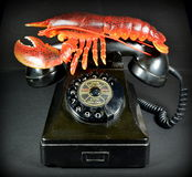 Lobster Phone. Recreation of Salvadore Dali's famous surrealist sculpture, the Lobsterphone Stock Photography