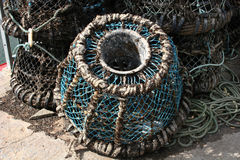 Lobster pot. On quay in close up Stock Images
