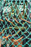 Lobster Pot, detail. Close up of a UK lobster pot with green twine/net Royalty Free Stock Image