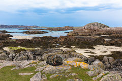 Lobster pot and rocky coast Fidden beach Isle of Mull Scotland uk Inner Hebrides. Near to Iona and Fionnphort royalty free stock images
