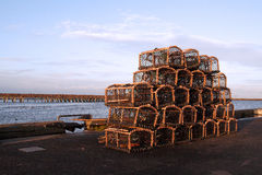 Lobster Pots. On Amble Harbour Quayside Royalty Free Stock Images