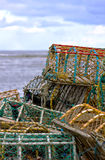 Lobster pots. Stacked on a harbour stock photo