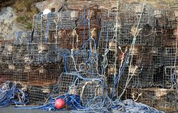 Lobster Pots. Stacked on harbour Stock Photos