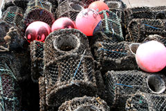 Lobster pots. And fishing bouys Royalty Free Stock Image