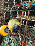 Lobster pots and commercial fishing gear. Royalty Free Stock Images