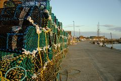 Crab pots on Well`s quayside. Stock Photo