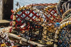 Lobster pots or creels. At the quayside Stock Photos