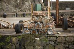 Lobster pots on harbour. At Carrickfergus north ireland Stock Photo