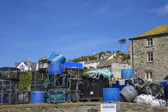 Lobster pots inPort Issac hot sunny summers afternoon Stock Photography