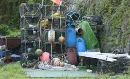 Lobster pots and marker bouys Stock Photo