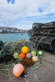 Lobster pots and marker buoys royalty free stock image