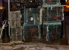 Lobster pots and nets at Poole harbour ready to go fishing stock images