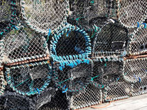 Lobster pots. A pile of lobster pots ready for fishing Royalty Free Stock Photos