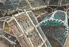 Lobster pots on a quayside Royalty Free Stock Images