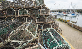 Lobster pots on a quayside Stock Images