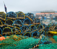 Lobster pots Scarborough harbour Royalty Free Stock Photography