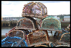 Lobster Pots - Scarborough Quay. Empty lobster pots on the quayside in Scarborough, North Yorkshire, UK Stock Image