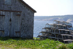 Lobster Pots Stack and Shack Royalty Free Stock Photography