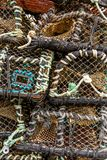 Lobster Pots stacked on Harbour Quayside -6 stock images