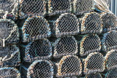 Lobster pots stacked on the quay in Padstow, Cornwall, England U Royalty Free Stock Photos