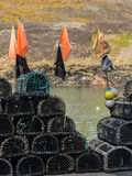 Lobster pots or traps on harbour wall in Boscastle Royalty Free Stock Image