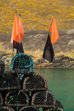 Lobster pots or traps on harbour wall in Boscastle Royalty Free Stock Photo