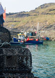 Lobster pots or traps on harbour wall in Boscastle Royalty Free Stock Photography