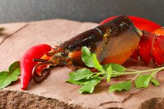 Lobster put on the stone plate. Lobster put on the stone plate represent seafood menu Stock Photos