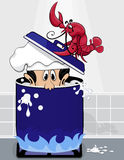 Lobster puts chief in boiling pot of water Royalty Free Stock Photo