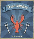 Lobster retro poster Stock Image