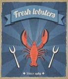 Lobster retro poster. Fresh lobster retro vintage restaurant advertising poster with beam background vector illustration Stock Image